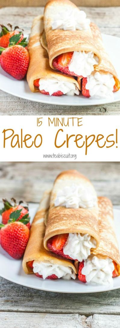 Paleo Crepes With Strawberry Sauce & Cococnut Whipped Cream